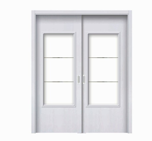 Plural rectangular white classic glass WPC double leaf door