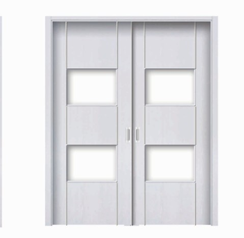 Plural rectangular white classic double leaf door