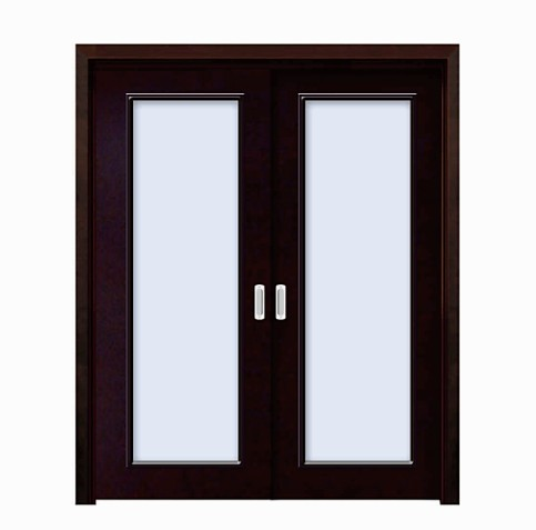 Classic black double rectangular glass WPC double leaf door
