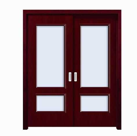 Red classic glass WPC double leaf door