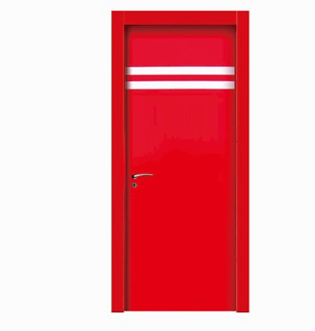 Double stripes red wood plastic composite door