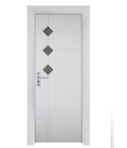diamond-shaped glass windows white WPC Door
