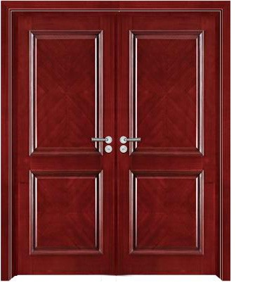 Rectangular pattern luxury double leaf wooden door