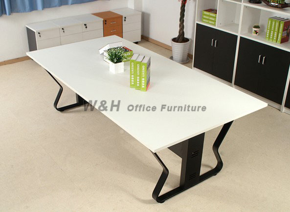 Minimalist modern white conference table