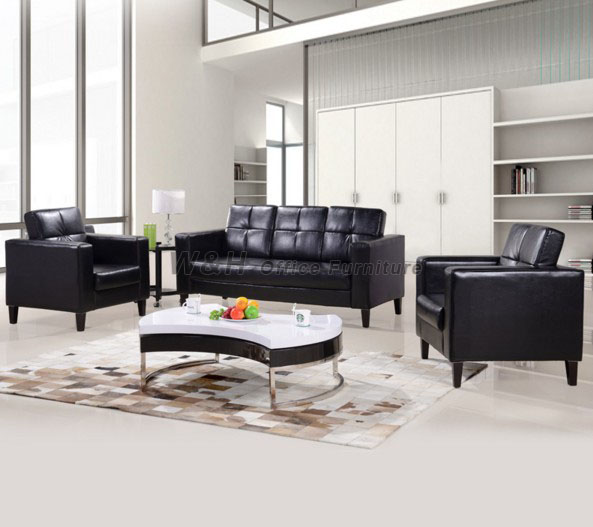 Multipurpose black leather office sofa