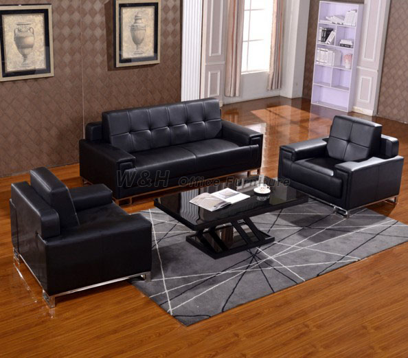 Black classic office leather sofa