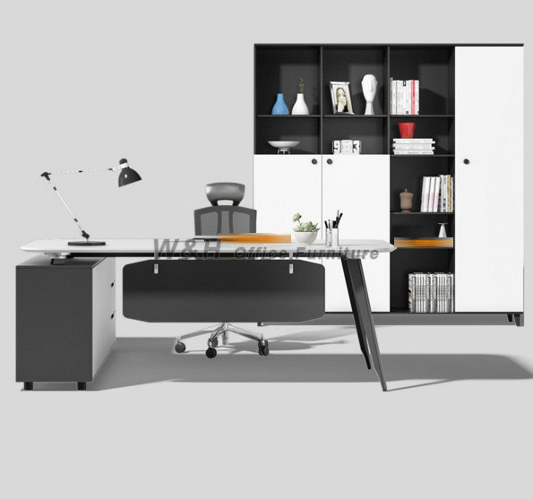 White modern office file cabinet