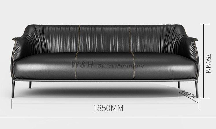 Stylish black leather office sofas
