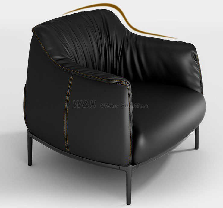 Stylish black leather office sofas