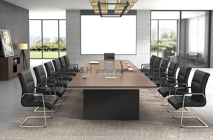 Minimalist black large conference table