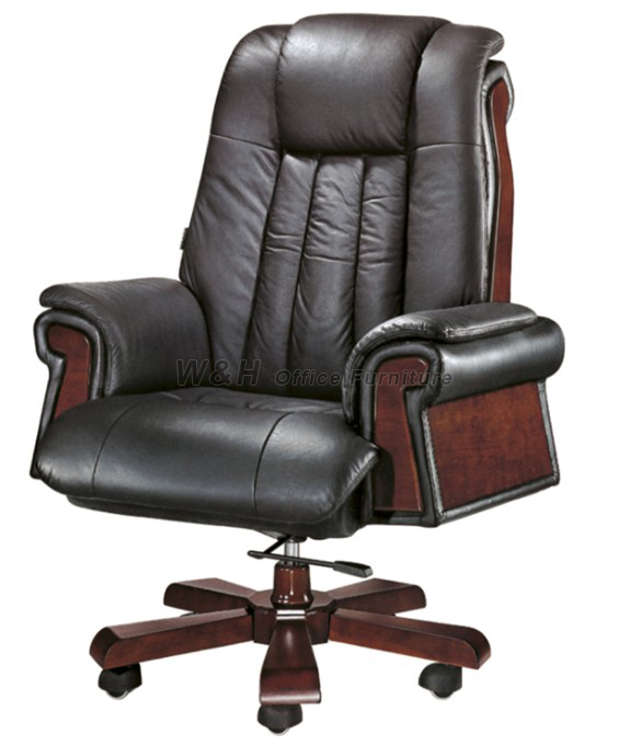 Luxury black leather office swivel chair