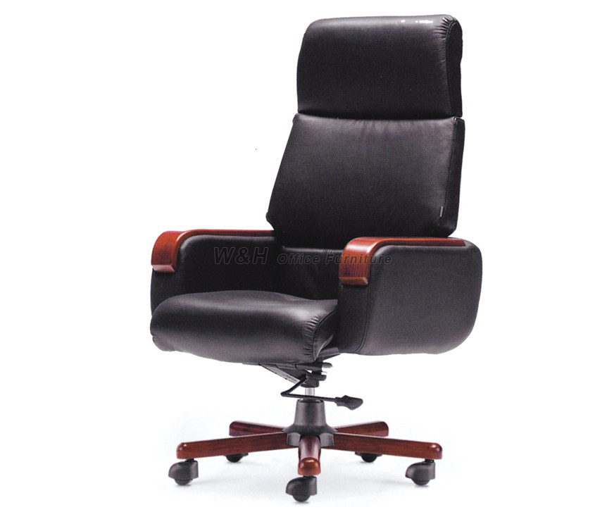 Black boss's leather swivel chair