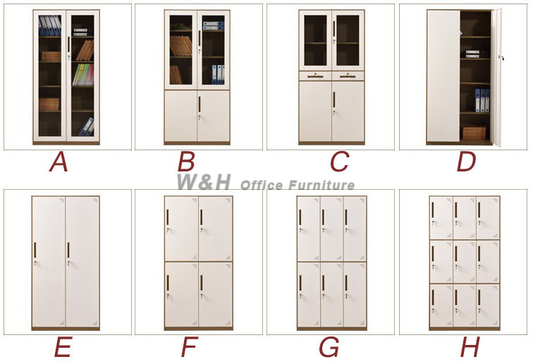Brown + white metal glass office file cabinet