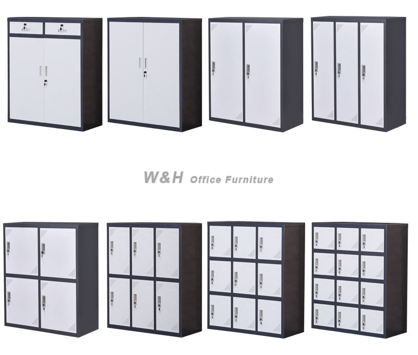 Gray + white small metal office file cabinet