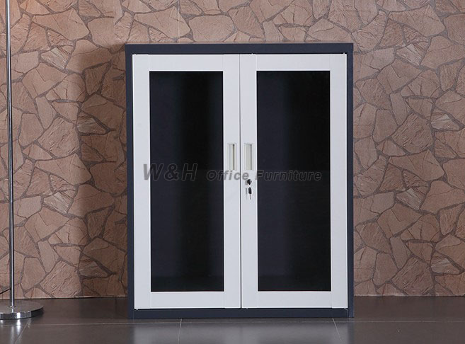 White + gray double doors small office file cabinet