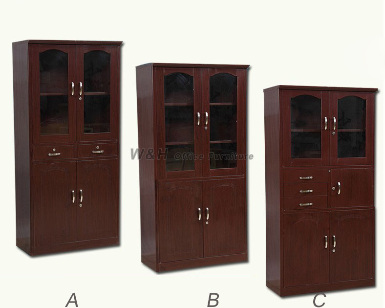 Brown wood grain office file cabinet