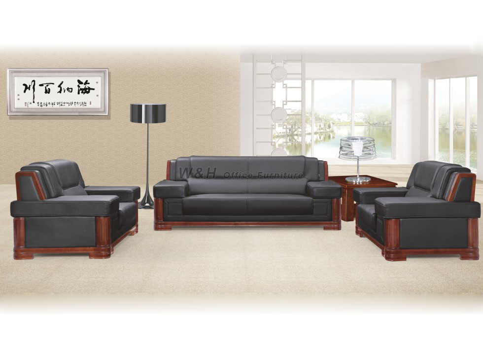 Black luxury leather office sofa