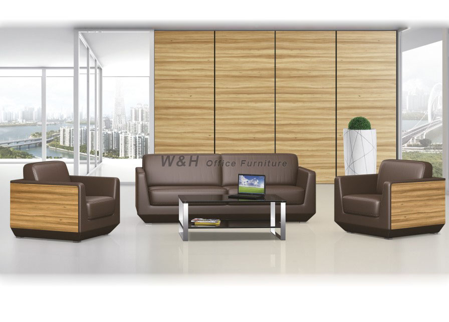 Wooden + leather brown office business sofa