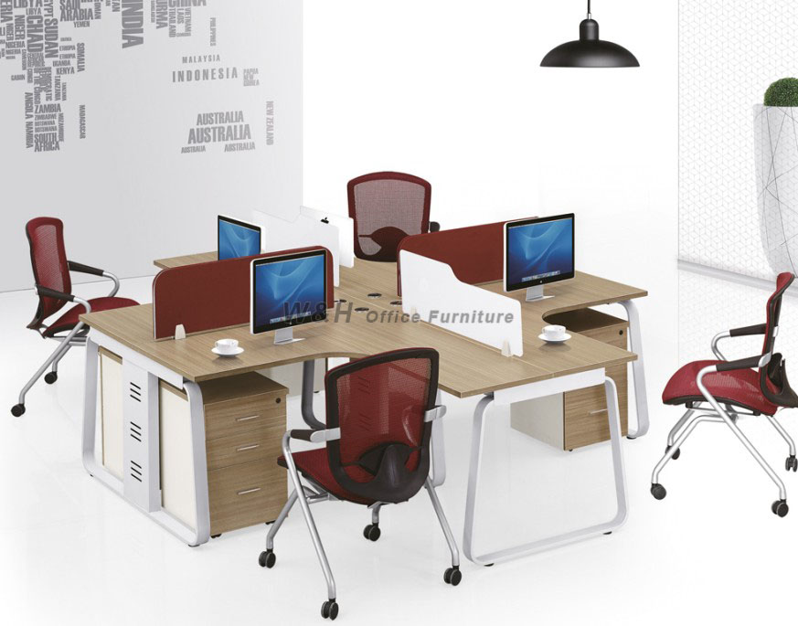 4 Seats Stylish minimalist office cubicles