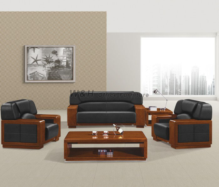 Walnut Luxury Leather Office Sofa