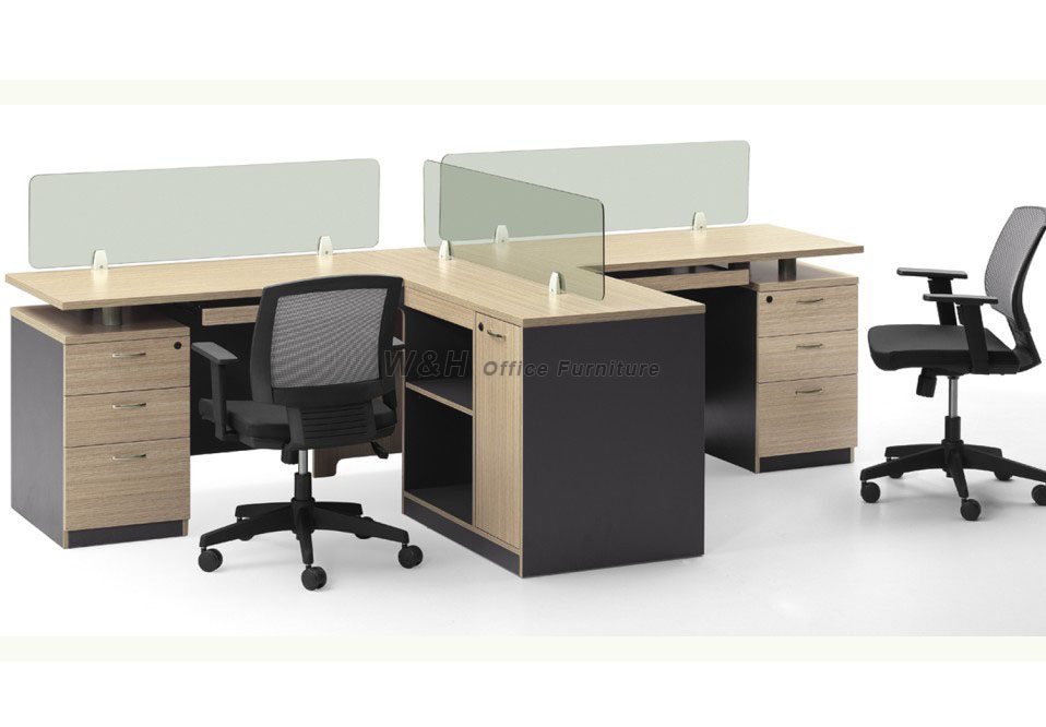 Double seats L-type modern office cubicles