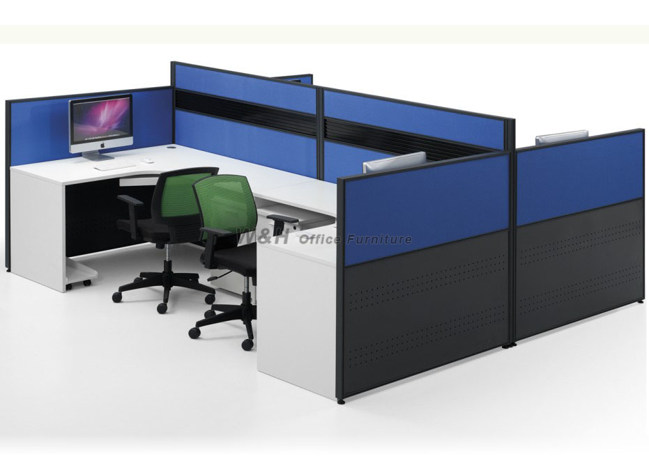 Blue and white four seats modern office cubicles