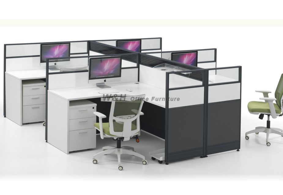 L-type four seats modern office cubicles