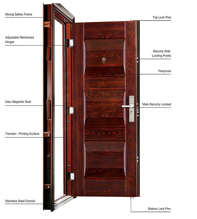 classic combination patterns steel double leaf door