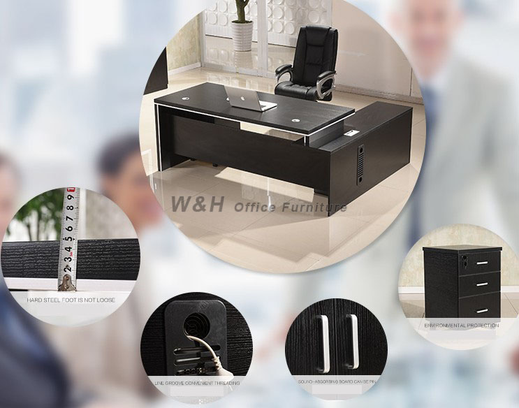 Modern Black Managers Office Desk - 7 foot office table