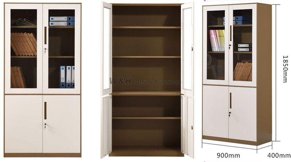 Product Name: Brown + White Metal Glass Office File Cabinet. Size:  Universal Material: Cold Rolled Steel, Thickness: 0.5mm / 0.6mm / 0.7mm /  0.8mm / 0.9mm